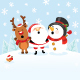 Santa with Reindeer and Snowman - GraphicRiver Item for Sale