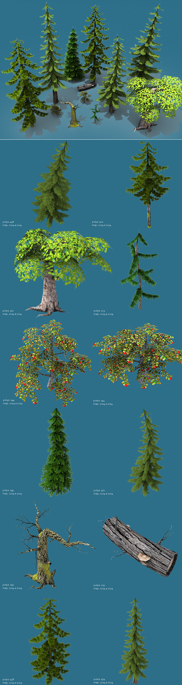 3D Tree Models from 3DOcean