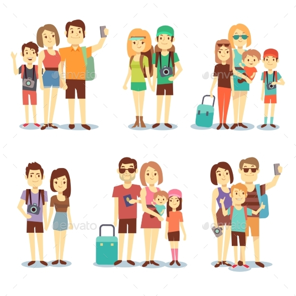 Happy Couple, Family, People, Tourists Vector