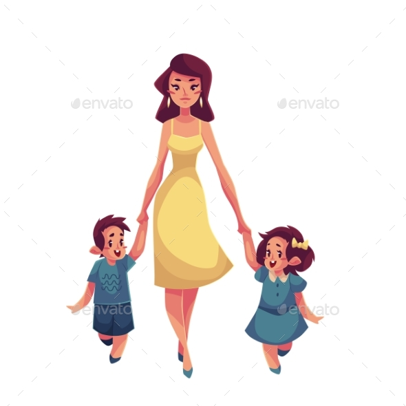 Mother, Daughter And Son Walking Together