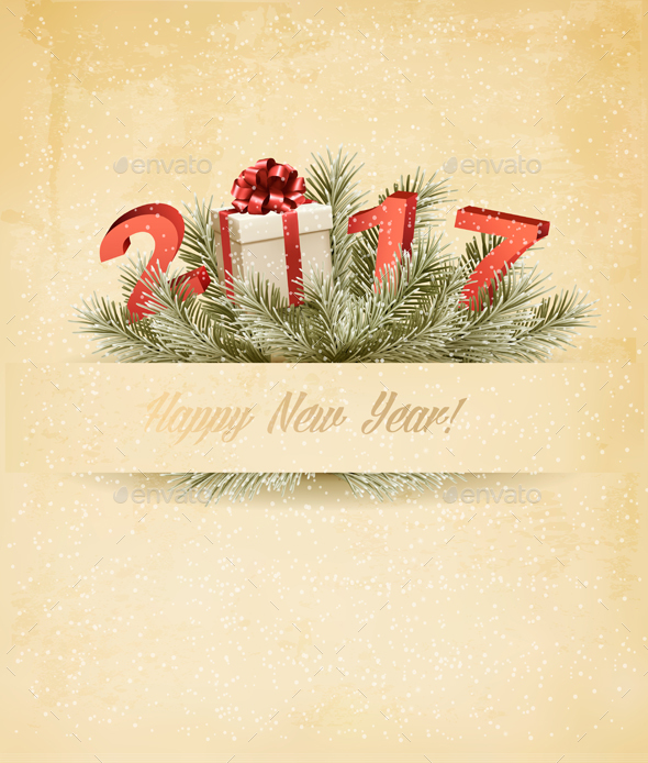 2017 New Years Background With Gift Vector