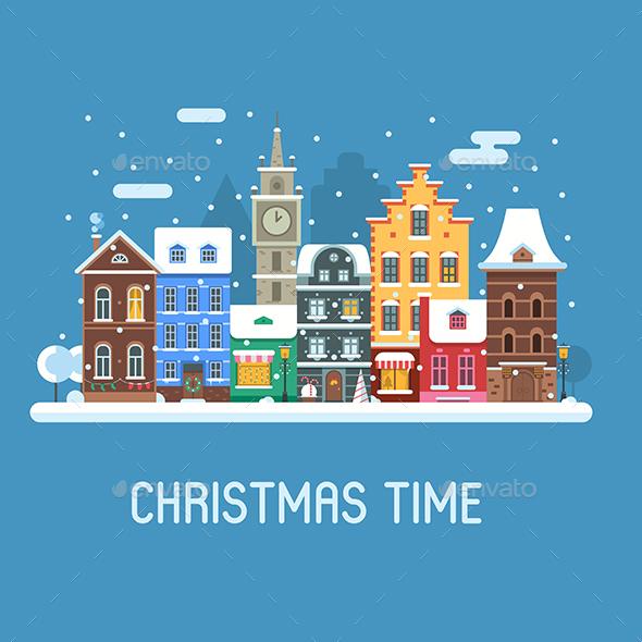 Europe City Christmas Street