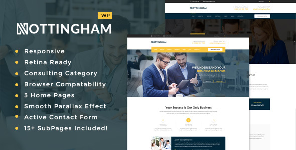 Nottingham : Business, Finance and Consultancy WordPress Theme Free Download
