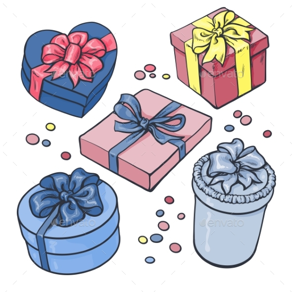Set Of Pastel Gift Boxes With Bows And Ribbons