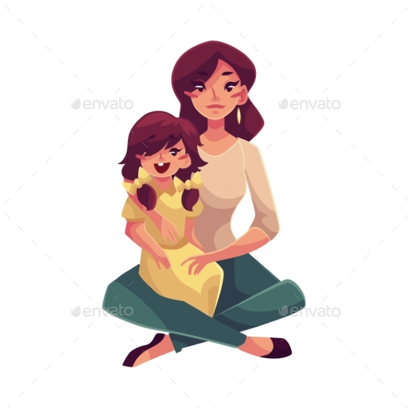 Mother and Daughter Sitting on the Floor Hugging