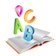 Flying Shiny Letters and Open Book - GraphicRiver Item for Sale