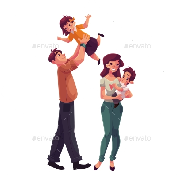 Father, Mother, Daughter And Son, Happy Family