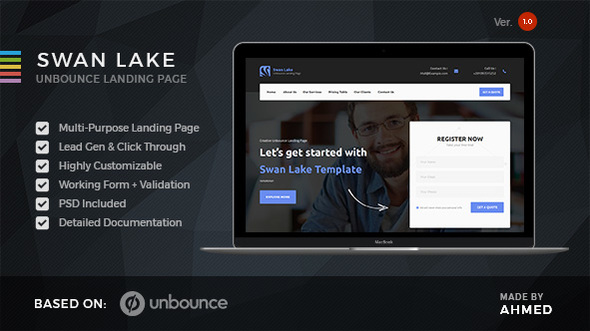 Swan Lake - Marketing Unbounce Template