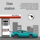 Petrol Gas Station Concept In Flat Design Style - GraphicRiver Item for Sale