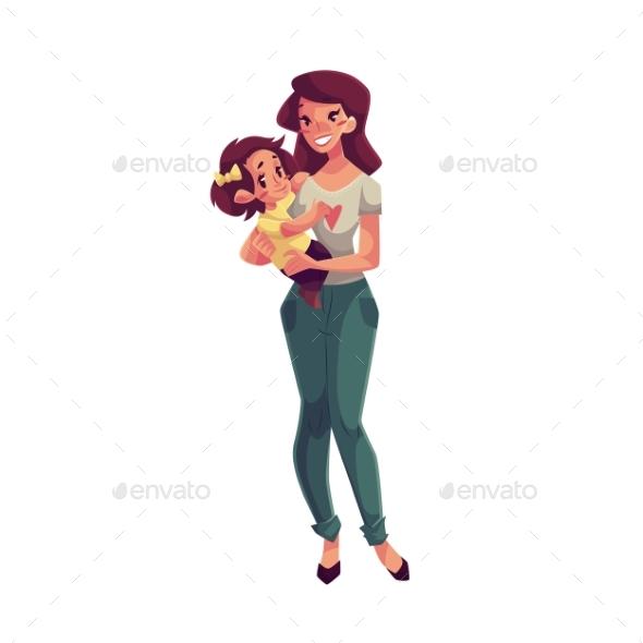 Happy Mother Holding Her Daughter In Hands