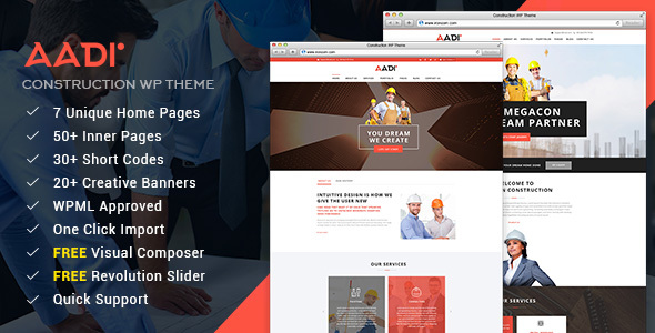 Aadi - Construction Building Responsive WordPress Theme