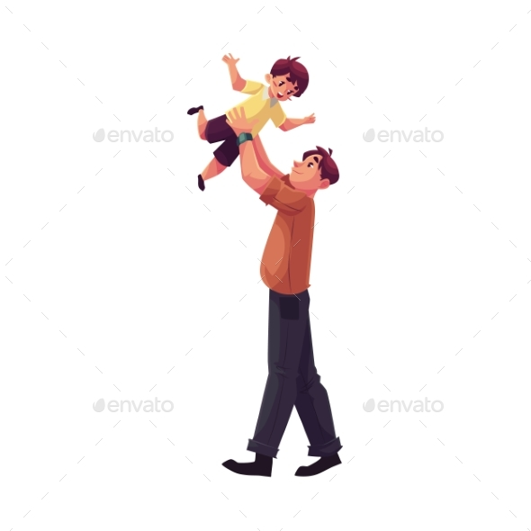 Father Playing With Son Throwing Him Into The Air
