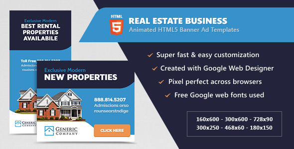 Real Estate Business Banner Ads - HTML5 Animated GWD Download
