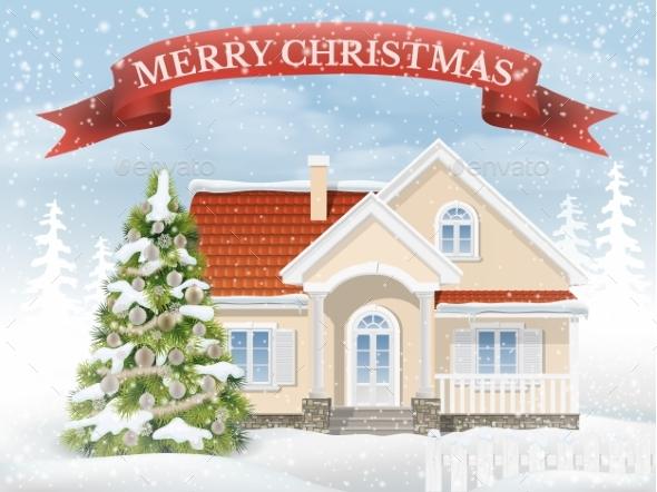 Christmas Scene Suburban House And Fir Tree