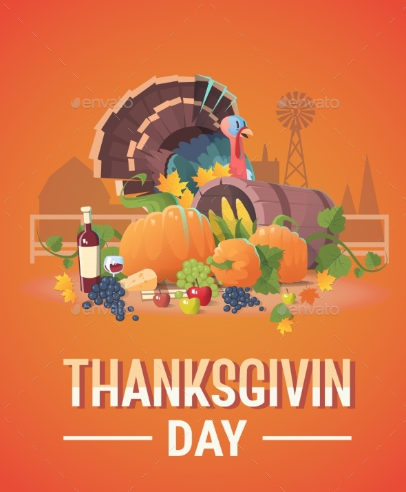 Thanksgiving Day Holiday Banner Fresh Vegetables