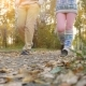 Young Couple Walking In The Autumn Park Uses Mobile Phone In - VideoHive Item for Sale