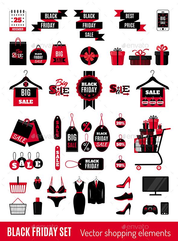 Set of Black Friday Sale Icons.