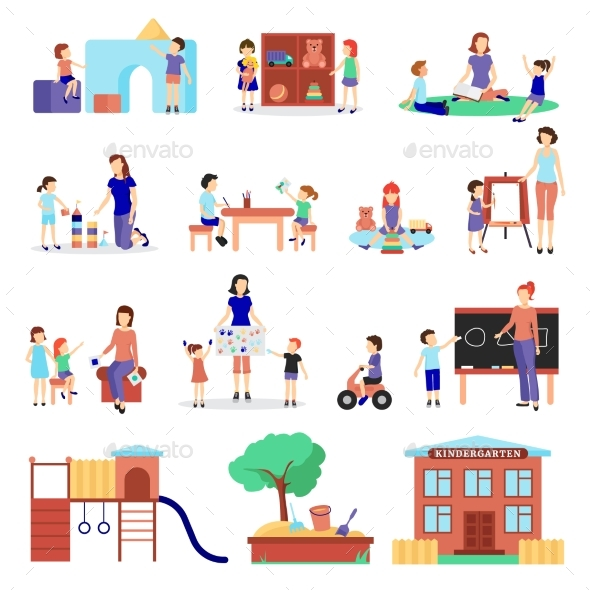 Kindergarten Icons Set