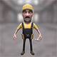 Worker cartoon character with hummer - 3DOcean Item for Sale