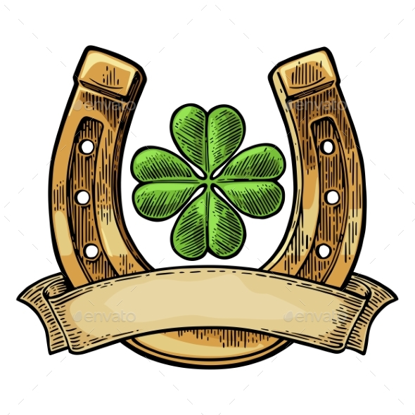 Good Luck Four Leaf Clover And Horseshoe