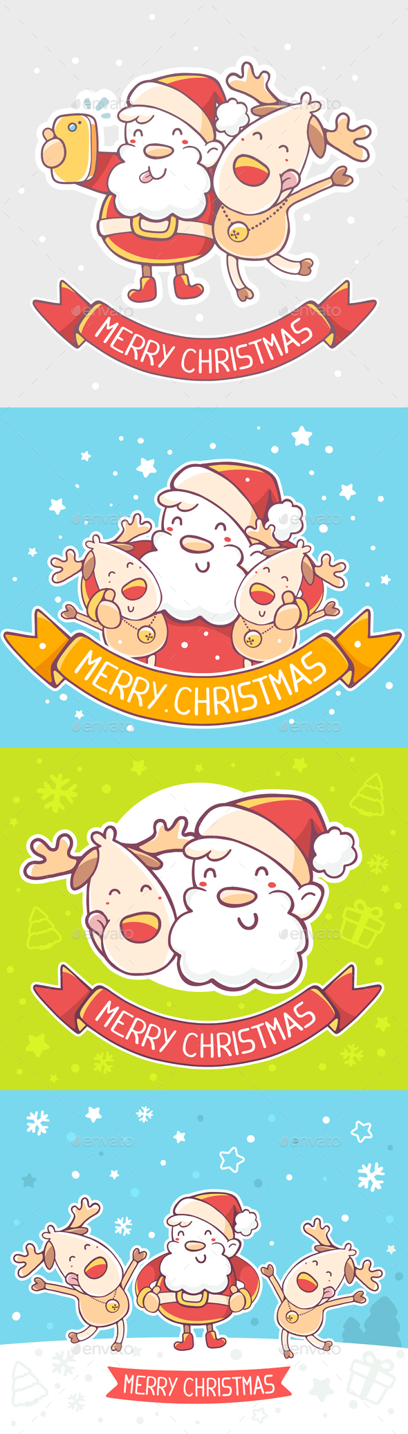 Illustrations with Santa Claus and Reindeers