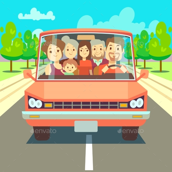 Happy Family Traveling By Car Driving On Road
