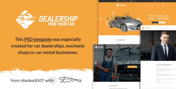 Dealership - Car, Mechanic & Rental PSD Template