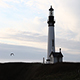 Lighthouse With Seagull Flying Early Evening Sky - VideoHive Item for Sale