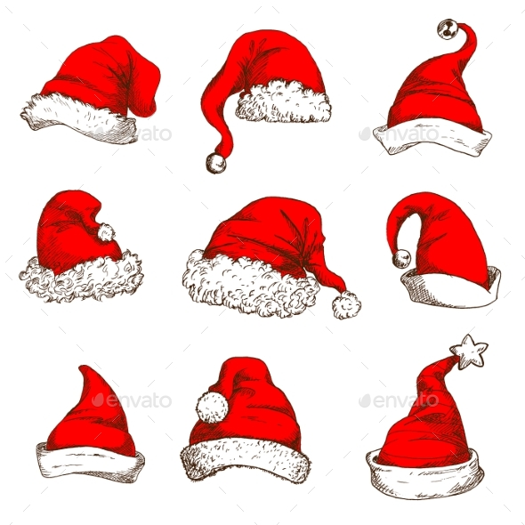 Christmas Red Hat Or Cap Of Santa And Elf Icon Set