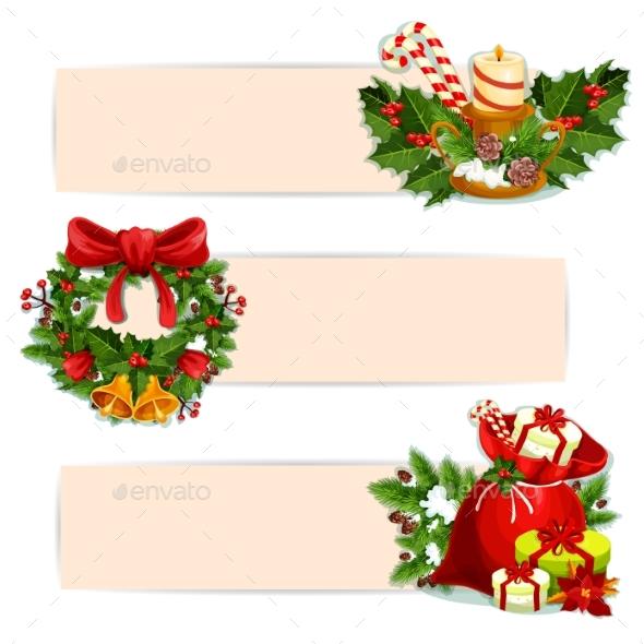 Christmas Holiday Banner Set For Festive Design