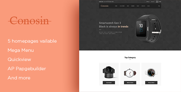 Leo Conosin Responsive Prestashop Theme for Luxury Watches & Gift