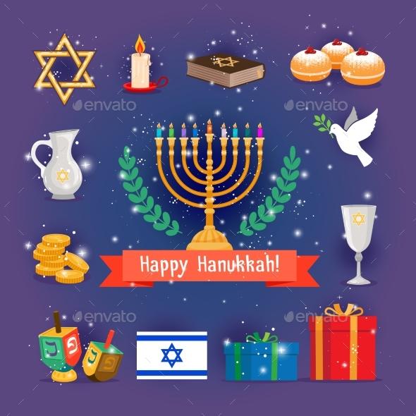 Jewish Holidays Hanukkah or Chanukah Icons
