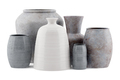 six ceramic vases isolated on white background. 3d illustration - PhotoDune Item for Sale