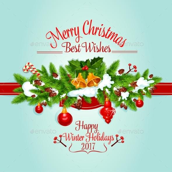 Christmas Tree Garland Holiday Poster Design