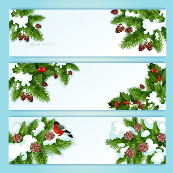 Christmas Banner with Holly Berry and Fir Branches
