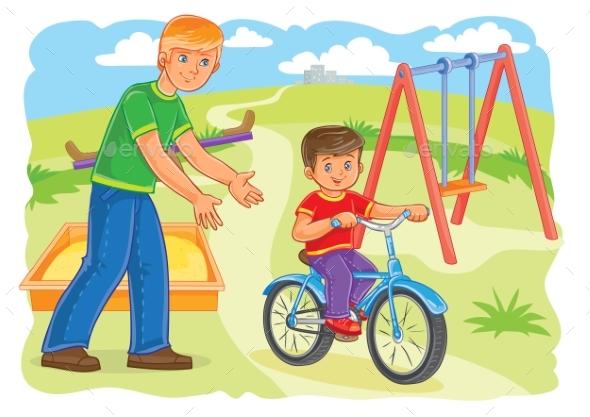 Father Teaches Boy to Ride Bike
