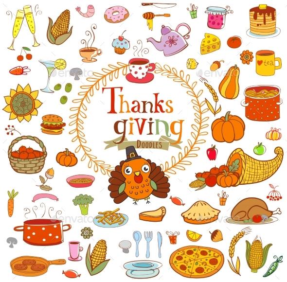 Thanksgiving Food Doodles