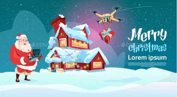 Santa Claus Hold Remove Controller Drone Delivery