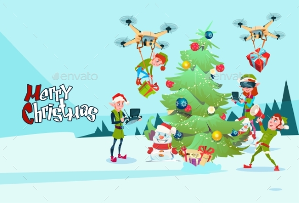 Green Elf Group Decoration Christmas Tree