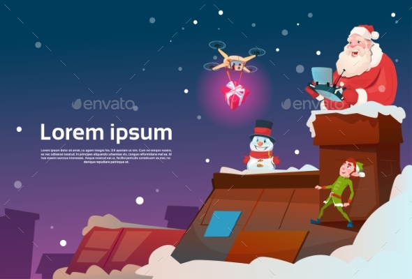 Santa Claus On Roof Hold Remove Controller Drone