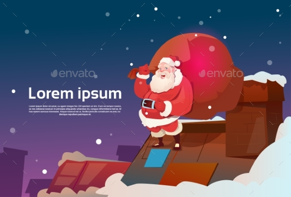 Santa Claus With Sack On Roof Chimney Present