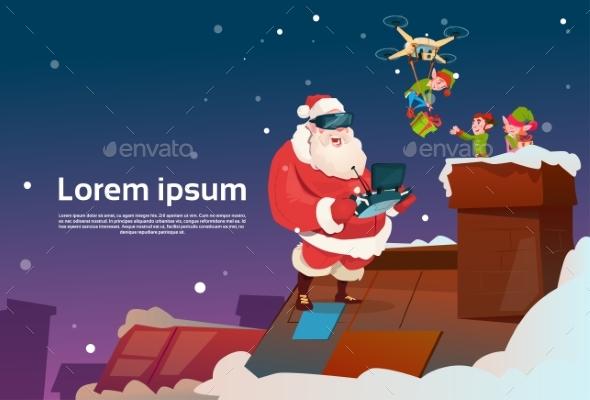 Santa Claus Wear Virtual Reality Glasses Elfs