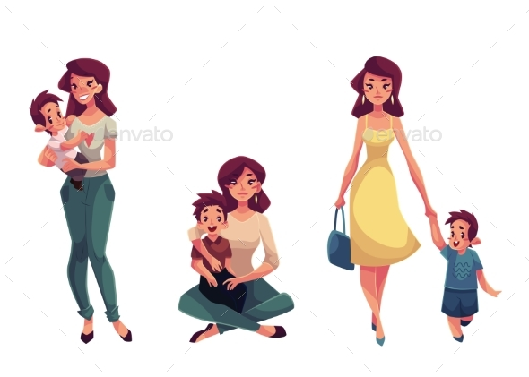 Happy Mother Holding, Hugging And Walking