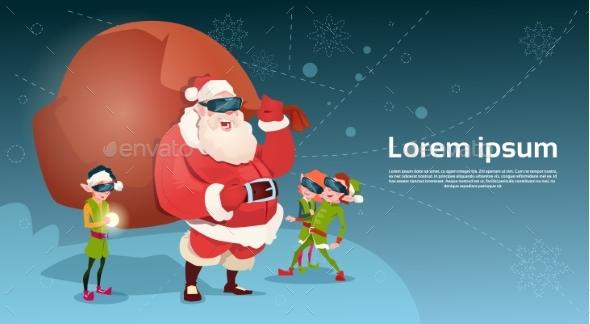 Santa Clause and Green Elves Wear Digital Glasses
