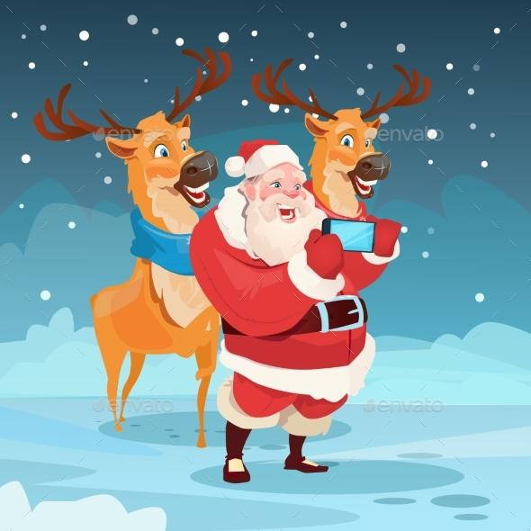 Santa Claus with Reindeer Making Selfie Photo