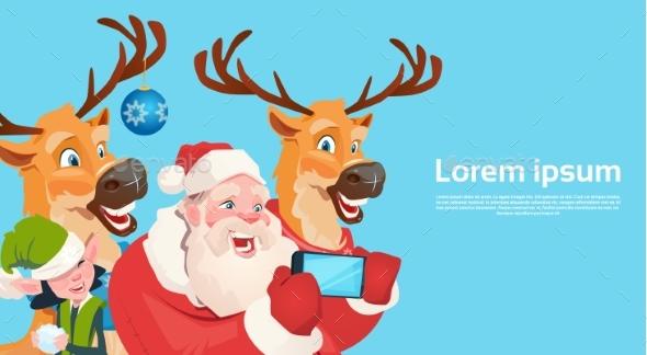 Santa Claus with Reindeer Elves Making Selfie Photo