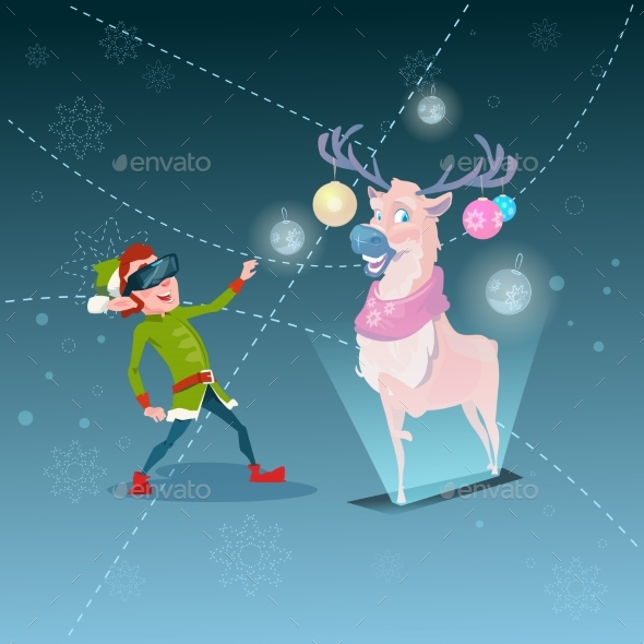Santa Helper Green Elf Wearing Digital Glasses