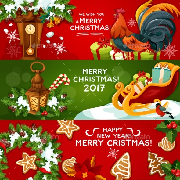 Merry Christmas and Happy New Year Banner Set