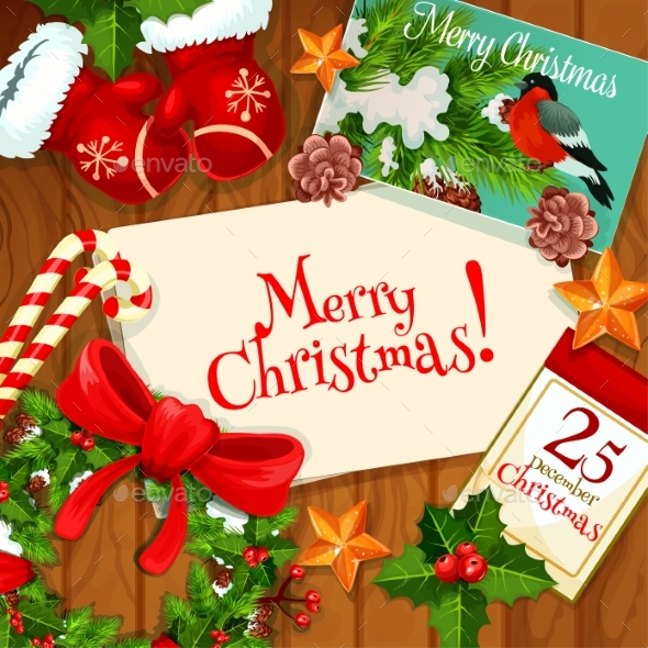 Christmas Day, Winter Holiday Greeting Card Design