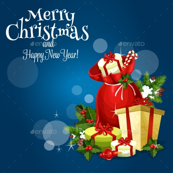 Christmas Gift And Present Greeting Card Design